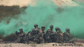 Dutch soldiers take part in the NATO Noble Jump military exercises on June 18, 2015, in Zagan