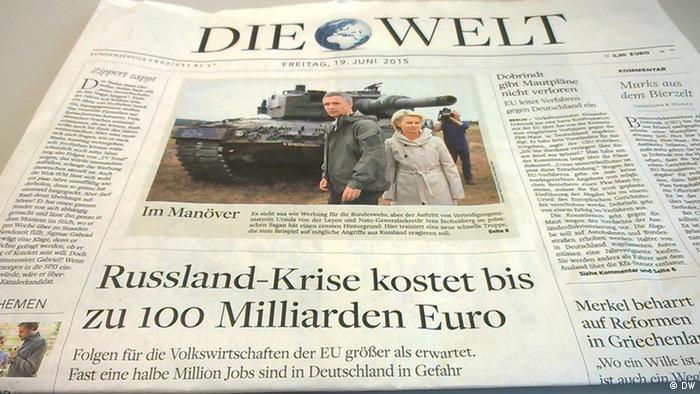 Газета Die Welt за 19 июня 2015 г. Статья о России - на первой полосе