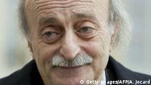 Bildunterschrift:Lebanese Druze leader and Lebanese Progressive Socialist Party (PSP) chairman Walid Jumblatt leaves after a meeting with French President Francois Hollande at the Elysee palace, on March 21, 2015, in Paris. AFP PHOTO / ALAIN JOCARD (Photo credit should read ALAIN JOCARD/AFP/Getty Images)
