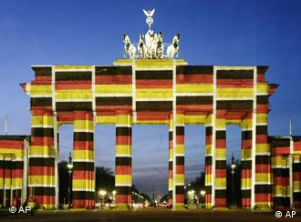 Brandenburg Gate decked out in German flags