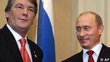 Russland Ukraine Wladimir Putin und Viktor Juschtschenko in Kasakstan