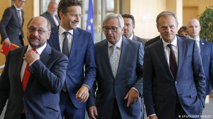 Martin Schulz, Jeroen Dijsselbloem, Jean-Claude Juncker und Donald Tusk (Foto: picture aliiance)