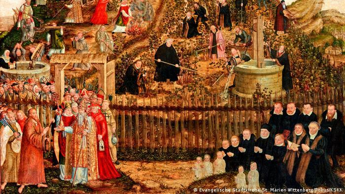 Cranach 2015 Lucas Cranach der Jüngere Reformatoren und Papisten im Weinberg des Herrn (Evangelische Stadtkirche St. Marien Wittenberg/Fokus/KSKK)