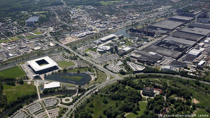 Вид с воздуха моногорода Вольфсбурга