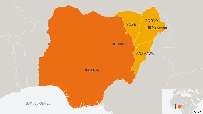 Karte Nigeria Bauchi, Maiduguri