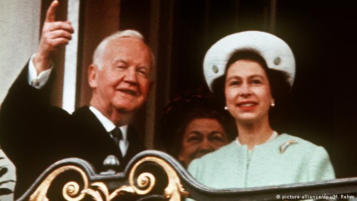 Queen Elizabeth II in Bonn with Heinrich Lübke, Germany's then 39-year-old president in 1965