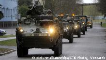 20.03.2015 ***** US armored fighting vehicles convoy starts its way from Pardubice to Prague on Monday, March 30, 2015. The Dragoon Ride convoy started last week from Estonia and passed through Latvia, Lithuania and Poland before entering the Czech Republic on Sunday and continues Monday to Prague on a return journey to a German base. (CTK Photo/Josef Vostarek)
