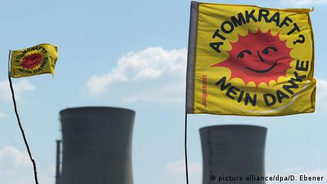 Protesters' flags flying at the power station in Grafenrheinfeld