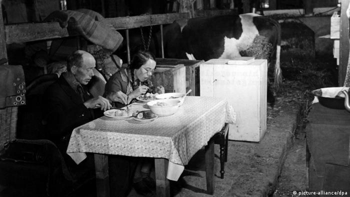 Der Flüchtling E. Rahlf aus Hinterpommern sitzt am 14.09.1950 mit seiner 14jährigen Tochter an einem Tisch in einem Kuhstall in Lasbek bei Oldesloe, in dem er mit seiner Familie lebt, beim Essen (Foto: dpa)