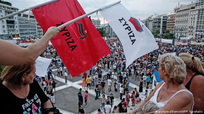Griechenland Syriza Flagge Demonstration