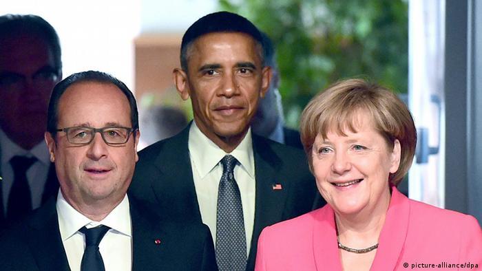 NSA Abhöraffäre Obama mit Merkel und Hollande Symbolbild
