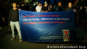 Protesters holding up banner in Freital