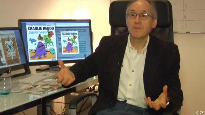 Screenshot Charlie Hebdo Chefredakteur Gerard Biard (Quelle: Deutsche Welle)