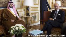 PARIS, FRANCE - JUNE 24: Saudi Deputy Crown Prince Mohammed bin Salman bin Abdulaziz, Second Deputy Premier and Minister of Defense, meets with French Minister of Foreign Affairs Laurent Fabius in Paris, France on June 24, 2015. Geoffroy Van der Hasselt / Anadolu Agency