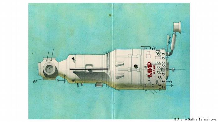 Эскиз орбитальной станции Мир