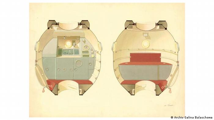 Теплый цвет: эскиз жилого отсека корабля Союз-М