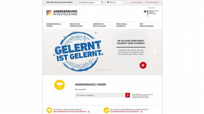 Скриншот портала Anerkennung in Deutschland