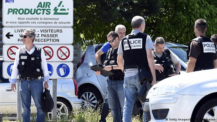 French police secure the entrance of the Air Products company in Saint-Quentin-Fallavier, near Lyon