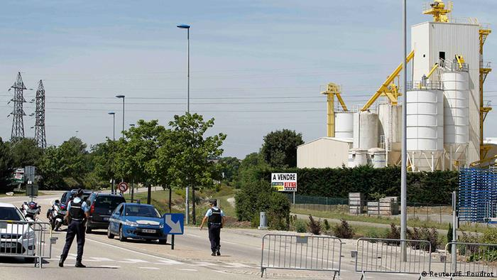 French Gendarmes block the access road to the industrial area of Saint-Quentin-Fallavier, outside Lyon, France