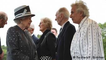 Queen Elizabeth speaking with Holocaust survivors during a visit to Bergen-Belsen in 201