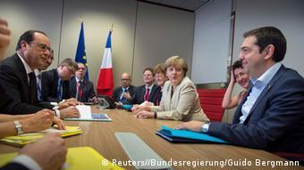Griechenlandkrise Treffen von Angela Merkel, Alexis Tsipras, Francois Hollande in Brüssel