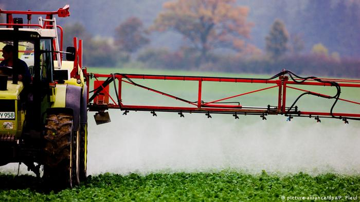 Pesticide being sprayed over a field (Photo: Patrick Pleul)