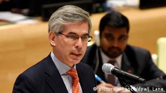 Yesid Reyes Alvarado, ministro de Justicia de Colombia, durante una presentación en la sede de Nacionaes Unidas en mayo pasado.