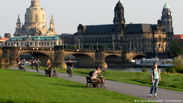 Cityscape of Dresden, Germany with church and bridge