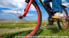 Radfahrer auf dem Deich, Föhr, Nordfriesland, Schleswig-Holstein, Deutschland