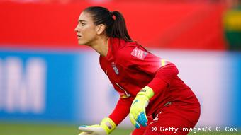 Hope Solo on the pitch during a 2015 World Cup game