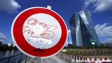 A traffic sign is seen in front of the headquarters of the European Central Bank (ECB) in Frankfurt, Germany, June 28, 2015. The European Central Bank can no longer give emergency liquidity to Greek banks due to the breakdown of talks between Athens and its creditors and doubts over Greece remaining in the euro, former ECB board member Lorenzo Bini Smaghi said in remarks published on Sunday. REUTERS/Ralph Orlowski