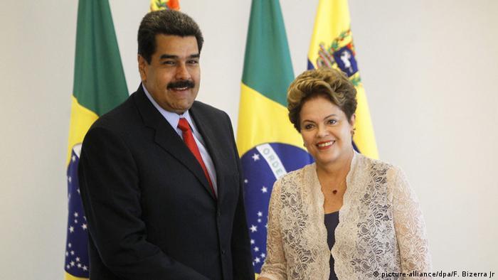 La jefa del Gobierno brasileño, Dilma Rousseff, y el presidente de Venezuela, Nicolás Maduro.