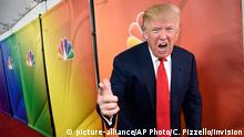 FILE - In this Jan. 16, 2015 file photo, Donald Trump, host of the television series The Celebrity Apprentice, mugs for photographers at the NBC 2015 Winter TCA Press Tour in Pasadena, Calif. NBC on Monday, June 29, 2015 said that it is ending its business relationship with Trump, now a Republican presidential candidate, because of comments he made about immigrants during the announcement of his campaign. (Photo by Chris Pizzello/Invision/AP, File)