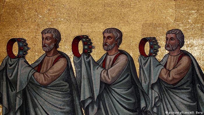 Фрагмент мозаики, украшающей купол Ахенского собора