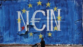 Граффити в Афинах: флаг ЕС и слово нет с эмблемой евро
