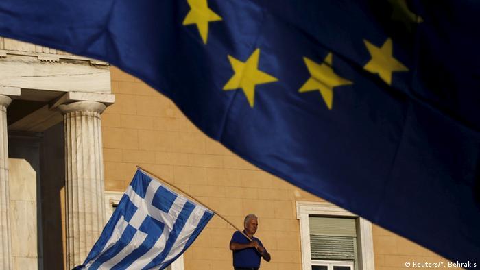 Griechenland Krise Illustration zum Referendum pro und contra