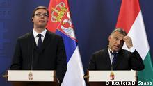 01.07.2015 **** Hungarian Prime Minister Viktor Orban (R) and Serbian Prime Minister Aleksandar Vucic hold a joint news conference in Budapest, Hungary, July 1, 2015. REUTERS/Bernadett Szabo