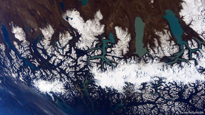 Photo: An Image of ice and water in Patagonia. (Source: Scott Kelly/NASA)
