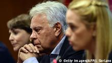 Spain's former Prime Minister Felipe Gonzalez looks on during a press conference about the situation of democracy and human rights in Venezuela, in Madrid on July 1, 2015. AFP PHOTO/ JAVIER SORIANO (Photo credit should read JAVIER SORIANO/AFP/Getty Images)