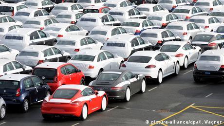 German cars at the Emden car terminal, waiting to be shipped.