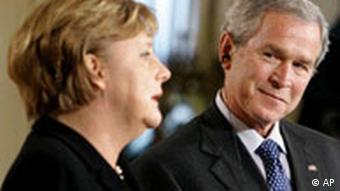Angela Merkel in Washington USA George Bush