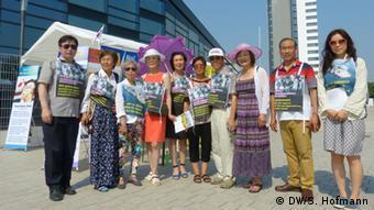 South Koreans protesting at UNESCO meeting. Copyright: Sarah Hofmann/DW.