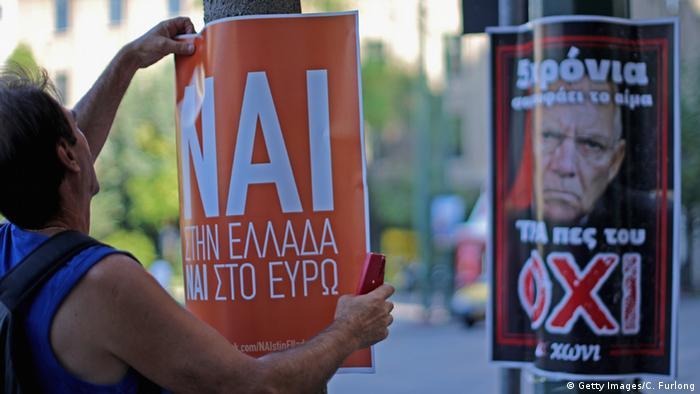 Плакаты за и против в Афинах