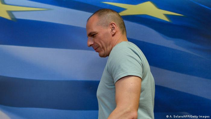 Yanis Varoufakis seen from the side while walking. ANDREAS SOLARO/AFP/Getty Images