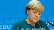 Bundeskanzlerin und CDU-Bundesvorsitzende Angela Merkel spricht am 23.09.2013 in Berlin bei der Pressekonferenz der CDU nach der Bundestagswahl. Foto: Julian Stratenschulte/dpa