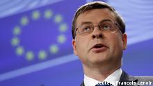 European Commission Vice-President Valdis Dombrovskis addresses a news conference at the EU Commission headquarters in Brussels, Belgium, July 6, 2015. Greeks voted resoundingly on Sunday to reject the austerity terms of a bailout with international creditors, prompting European Council President Donald Tusk to call a euro zone summit on Tuesday. REUTERS/Francois Lenoir