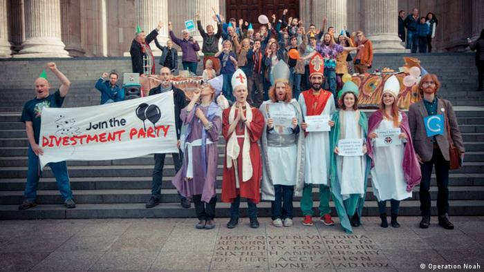 A divestment party held outside St. Paul's by Operation Noah