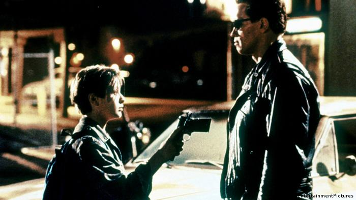 Film still from Terminator 2 Judgement Day with Edward Furlong and Arnold Schwarzenegger, 1991 (Imago/EntertainmentPictures)