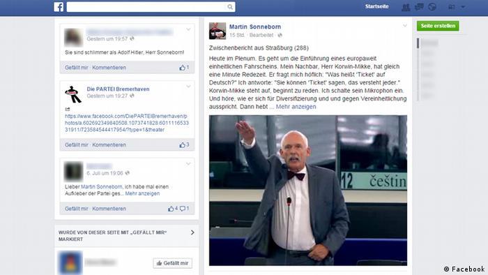 Screenshot Martin Sonneborn Facebool Profil Korwin-Mikke Hitlergruß