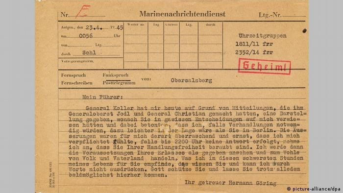 Hermann Göring's telegram to Hitler from April 23, 1945, Copyright: picture-alliance/dpa